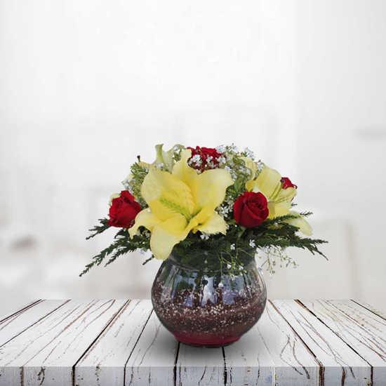 ارسال اينترنتی گلدان گل رز و لیلیوم همین امروز