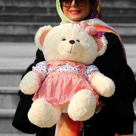سفارش آنلاین عروسک خرسی لباس صورتی